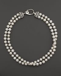 Lagos | Metallic Sterling Silver Luna Freshwater Pearl Double Strand Necklace, 18"