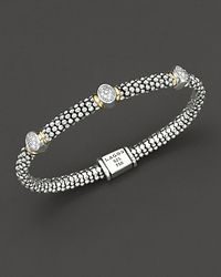 Lagos | Metallic Twilight Caviar Bracelet With Three Diamond Stations, 6mm | Lyst