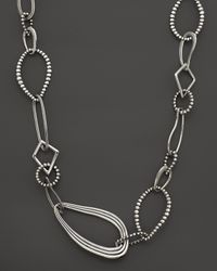 Lagos - Metallic Sterling Silver Multi Texture Caviar Link Necklace 34 - Lyst