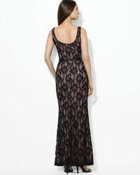 Lauren by Ralph Lauren | Black Scoop Neck Lace Dress | Lyst