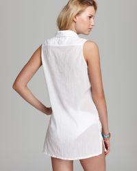 Lauren by Ralph Lauren White Crushed Cotton Sleeveless Shirt Dress Cover Up