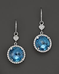 Lisa Nik | 18k White Gold Blue Topaz and Diamond Earrings | Lyst