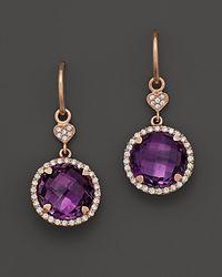 Lisa Nik Purple Amethyst and Diamond Earrings in 18k Rose Gold