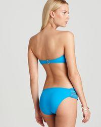 Lucky Brand Blue Fiesta Fever Bandeau Bikini Top
