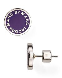 Marc By Marc Jacobs | Purple Enamel Logo Disc Stud Earrings | Lyst