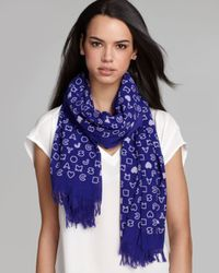 Marc By Marc Jacobs Blue Stardust Logo Scarf