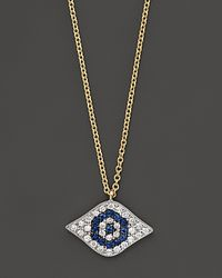 Meira T - Metallic Diamond and Blue Sapphire Small Evil Eye Necklace Set in 14k Yellow Gold - Lyst