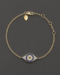 Meira T | Blue . Diamond, Sapphire And 14k Yellow Gold Evil Eye Bracelet | Lyst