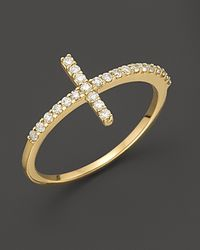 Meira T | Metallic Yellow Gold Cross Ring | Lyst