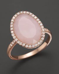 Meira T | Metallic Pink Opal Rose Gold and Diamonds Ring | Lyst