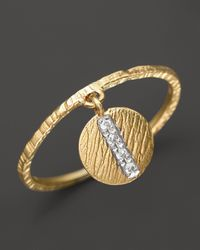 Meira T 14k Yellow Gold Disc Ring with Diamonds 02 Ct Tw