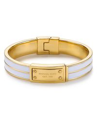 Michael Kors | White Enamel Plaque Bangle Bracelet | Lyst