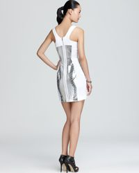 MILLY White Racerback Dress Mirrored Python