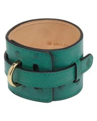 Mulberry Green Wide Leather Bracelet