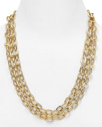 Nadri | Metallic Hammered 3 Row Toggle Necklace 24 | Lyst