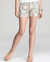 PAIGE Natural Paige Liberty Shorts Silverlake in Kerrys Flock Print