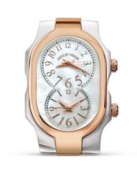 Philip Stein Gray Small Signature Two Tone Rose Gold Watch Head, 27mm