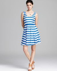 Plenty by Tracy Reese Blue Quotation Dress Striped Frock