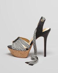 Sam Edelman Mela Canvas Strap Leather Pump Blackwhite