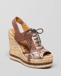 Sam Edelman Brown Open Toe Lace Up Wedge Sandals Tinley