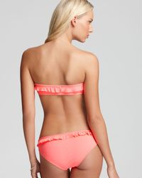 Shoshanna Pink Ruffle Bandeau Bikini Top