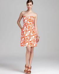Shoshanna White Ikat Printed Dress Wendolyn Strapless