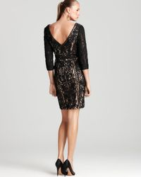 Sue Wong Black Lace Dress Three Quarter Sleeve V Neck