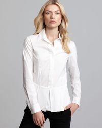 Theory White Shirt Feffa Luxe Peplum