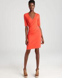 Three Dots Orange Elbow Sleeve Faux Wrap Dress