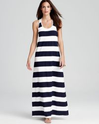Tommy Bahama Blue Big Stripe Long Tank Swimsuit Cover Up Dress