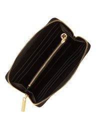 Tory Burch Black Embossed Lux Patent Leather Continental Wallet