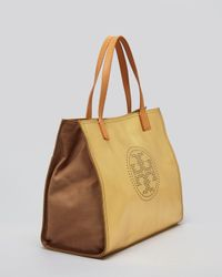 Tory Burch Tote Metallic Small Perforated Logo East-West