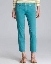 Tory Burch Green Alexa Cropped Skinny Jeans