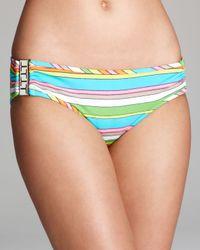 Trina Turk Multicolor Tennis Anyone Buckle Side Hipster Bikini Bottom