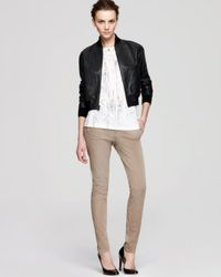 Vince Black Jacket Two Tone Leather Bomber