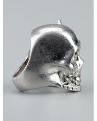 Alexander McQueen Metallic Skull Bird Ring