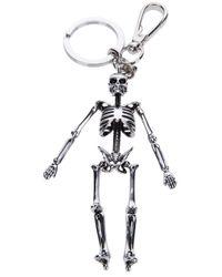 Alexander McQueen Metallic Skeleton Key Ring for men