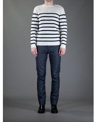 A.P.C. White Stripe Sweater for men