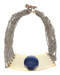 Arielle De Pinto - Metallic Moon Tablet Choker Necklace - Lyst