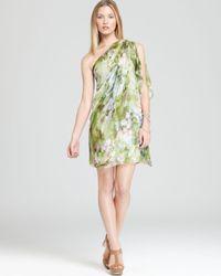 Badgley Mischka Green One Shoulder Dress Floral Print