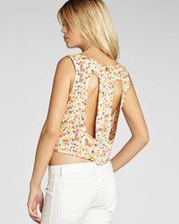 BCBGeneration Multicolor Top Floral Cutout Back