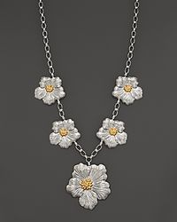 Buccellati White Blossom 1 Large 4 Medium Flower Necklace with Gold Accents 19