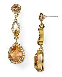 Carolee Metallic Tea Cup Florals Glass Pearl Drop Earrings