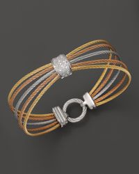 "Charriol | Multicolor ""Classique"" Multi-Row Tri Color Bracelet With Diamonds 