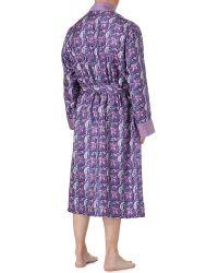 Derek Rose Purple Derek Rose Otis Paisley Silk Dressing Gown