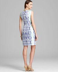 Elie Tahari - Blue Sleeveless Dress Bevelery Mosaic Print - Lyst