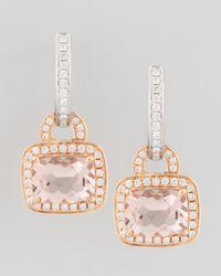 Frederic Sage - Metallic 18k Rose Gold Pave Diamond Morganite Earrings - Lyst
