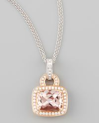 Frederic Sage | Metallic 18k Rose Gold Pave Diamond Morganite Necklace | Lyst