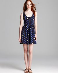 French Connection Blue Dress Polka Dot
