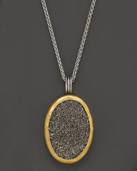 Gurhan Metallic Sterling Silver and 24k Gold Galaxy Druzy Pendant Necklace 16
